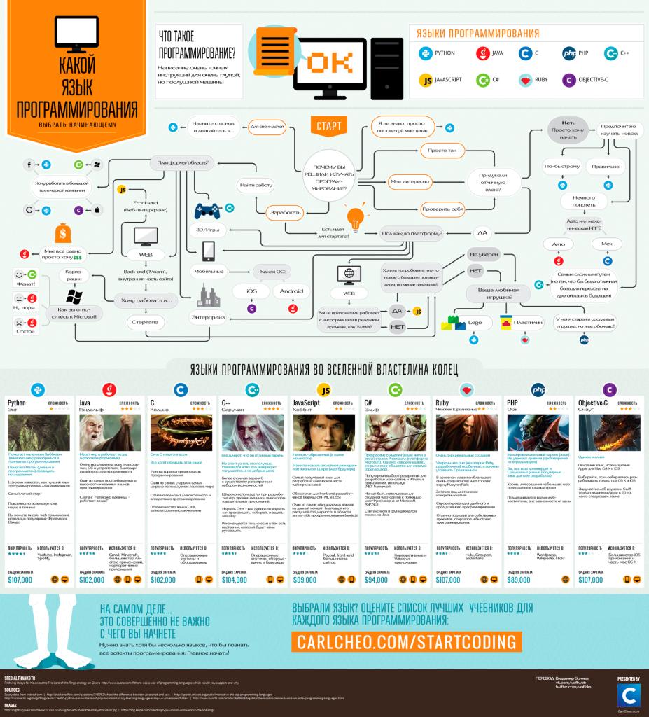 Какой язык программирования выбрать новичку: инфорграфика